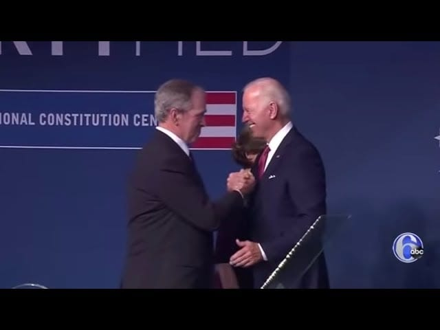 Joe Biden and George W Bush