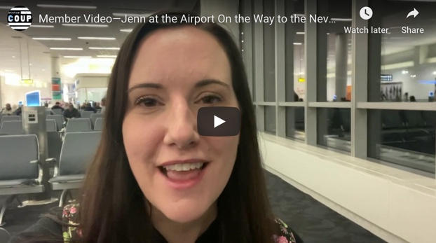 Member Video—Jenn at the Airport On the Way to the Nevada Caucuses!