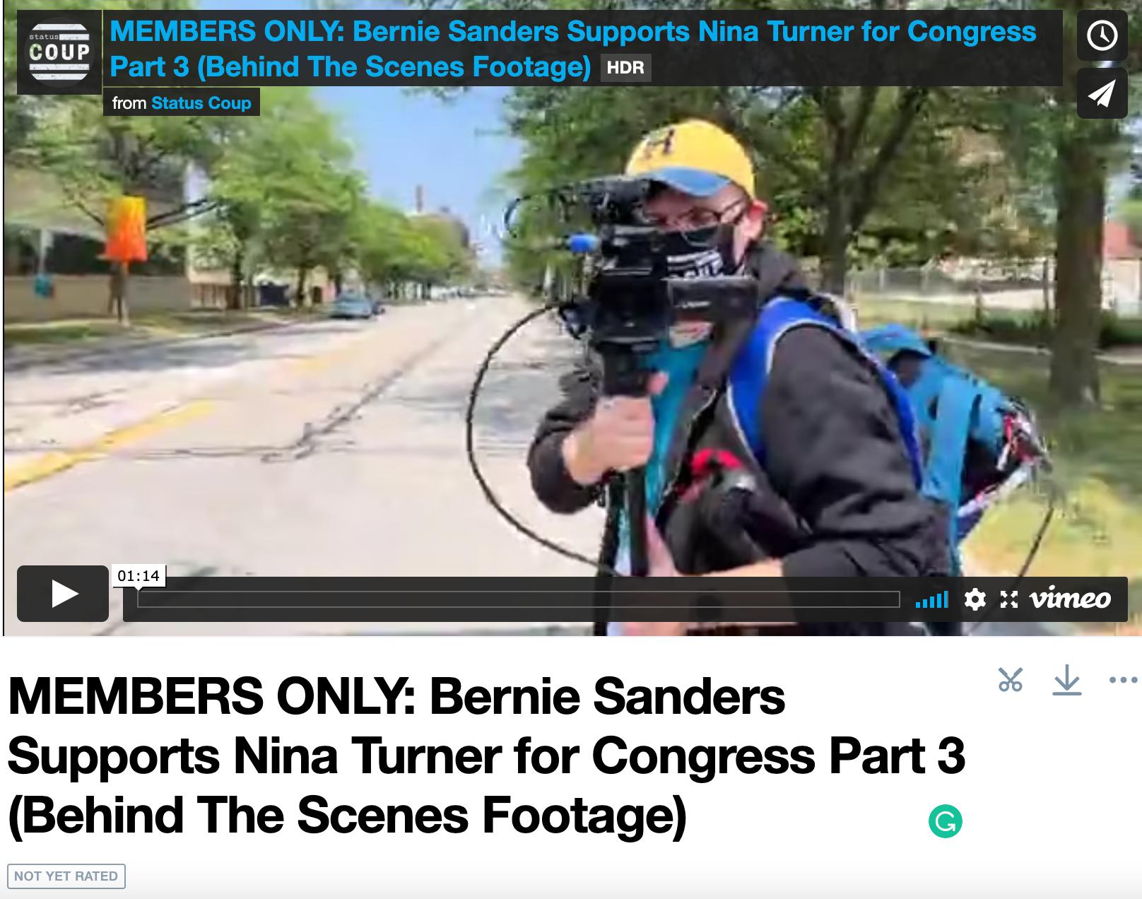 Bernie and Nina Turner Behind the Scenes Video